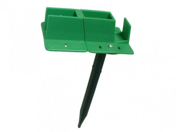 Quick-Norm G - Eck-Fußteil mit Spiess grün