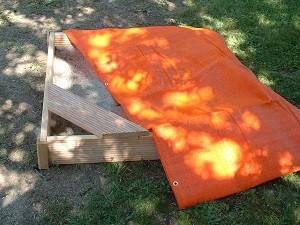 Sandkasten Abdecknetz orange