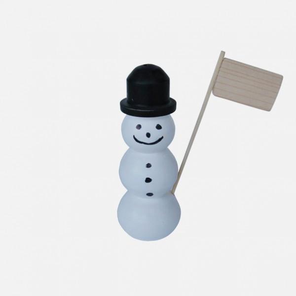 Schneemann aus Holz mit Fahne 2