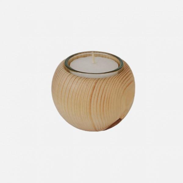 Holzkugel mit Teelicht, Fichte