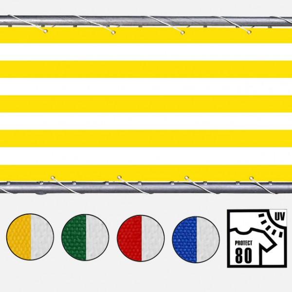 Polyesterstoff, Markisenstoff gestreift gelb-weiss